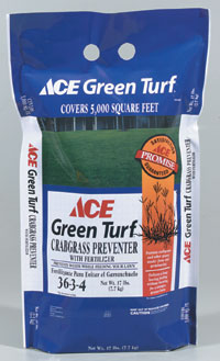 Ace Green Turf Crabgr Preventer Lawn Fertilizer 17 Lbs Covers 5 000 Sq Ft 36 3 4 Prevents And Other Gry Weeds From Ever