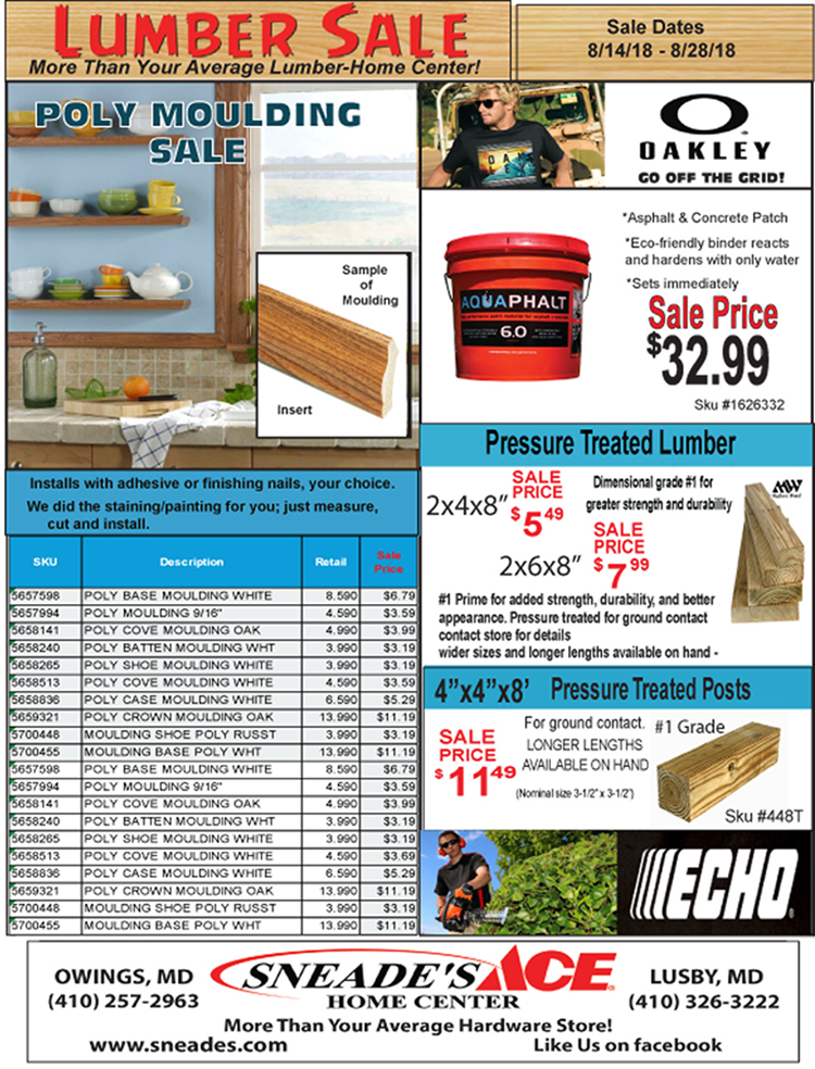 Lumber Sale August 2018 Featured Image Sneade S Ace Home